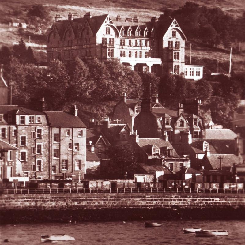 Vintage Highland Hotel from across Loch Linnhe
